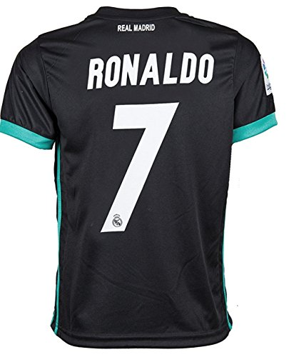 #7 Ronaldo Real Madrid Third Kid Soccer Jersey & Matching Shorts Set 2016-17,Black,Youth S (6 to 8 Years Old)