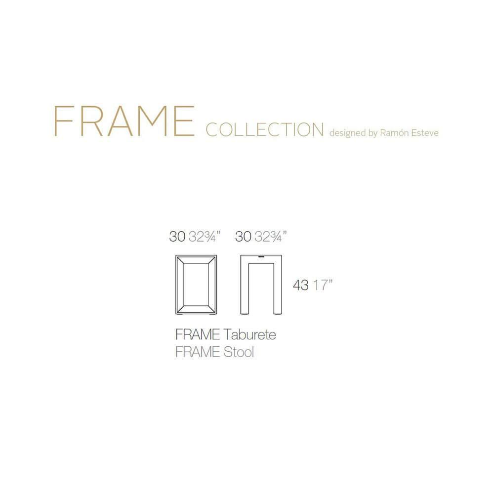 White Set 2 Vondom Frame Low Stool for Outdoor h.17 in
