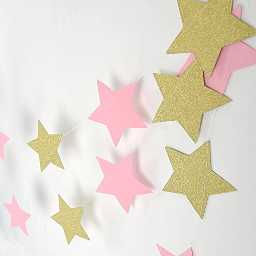 Paper Garland, MerryNine 3 Pack 30ft Twinkle Star Garland Sparkling Gold Star Banner for Wedding, Bridal Showers, Birthday Party, Baby Shower, Event & Party Decor (Twinkle Star- Pink Gold)