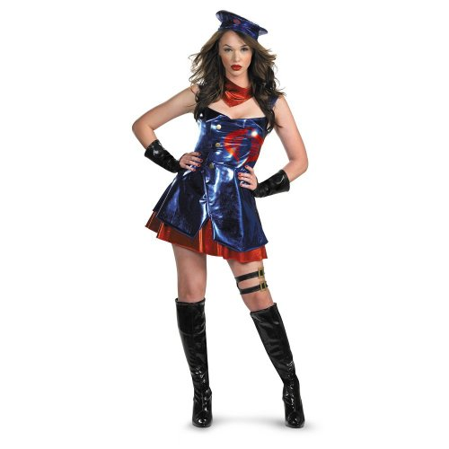 Costumes Commander Cobra (Disguise Unisex Adult Deluxe Gi Joe Sassy Cobra, Blue/Red/Black, Large (12-14))