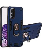 WJMWF Hoesje voor Samsung Galaxy S20 [Screen Protector] 360°Draaibare ringhouder 2 in 1 Vecht tegen pantser Telefoonhoes Magnetische autohouder Siliconen Beschermhoes-Koningsblauw