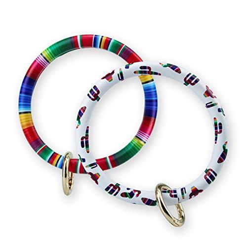 Keychain Bracelet Bangle Men Women Vegan Leather Multicolored Design Key Ring Loop Key Fob Saver (Pack of 2) (cactus/Colorful) - Loop Chain Bracelet