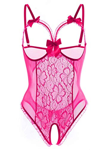 (Lingerie for Women Sexy One-Piece Teddy Lingerie Bodysuit Lace Nightie (Rose Red,3XL))