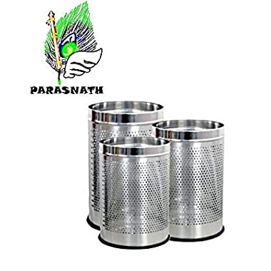 """Parasnath Stainless Steel Perforated Open Dustbin/Stainless Steel Garbage Bin/Small, Medium and Large/ - 6 Litre (7""""x10"""") + 10 Litre (8'' X 12'') + 18 Litre (10'' X 14'')- Set of 3 Pcs 10"""