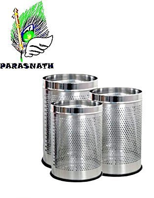 """Parasnath Stainless Steel Perforated Open Dustbin/Stainless Steel Garbage Bin/Small, Medium and Large/ - 6 Litre (7""""x10"""") + 10 Litre (8'' X 12'') + 18 Litre (10'' X 14'')- Set of 3 Pcs 4"""