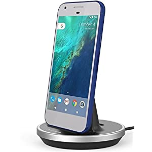 Google Pixel / Pixel XL Desktop Charging Dock (Case Compatible) Height Adjustable Mount (Type C Charger) (Aluminum/Black)