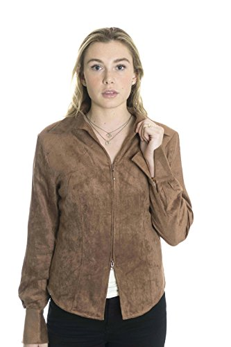 Paparazzi by Biz Women's Zip Front Sueded Jacket in Cocoa, X-Large