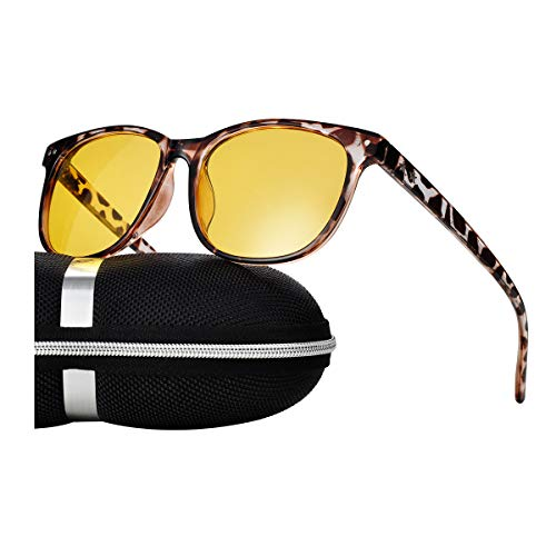 Night Vision Driving Glasses Polarized Anti-Glare Clear Sun Glasses Men & Women Fashion(Leopard) by Bokewy