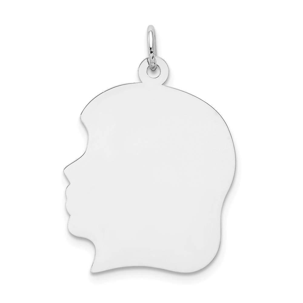 14k White Gold Plain Large Facing Left Engravable Girl Charm