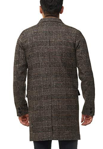 Indicode Homme Ilchester Manteau en Laine avec Col Montant Uni, Chiné Ou À Motif À Carreau Tweed | Manteau D'Hiver…