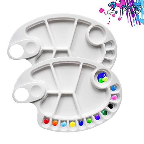 Non-Stick Paint Palette 2 PCS Artist Paint Mixing Tray Palette Oval Shaped Easy Clean Art Palette 17 Wells (2 PCS)