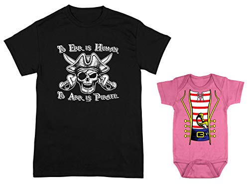 HAASE UNLIMITED to ERR is Human/Pirate Costume 2-Pack Bodysuit & Men's T-Shirt (Black/Pink, XX-Large/Newborn) ()