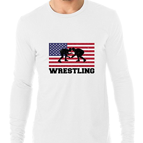 Hollywood Thread USA Olympic - Wrestling - Flag - Silhouette Men's Long Sleeve T-Shirt