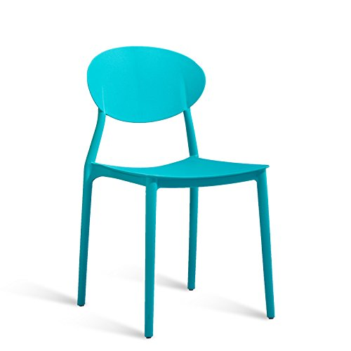 Simple European dining chair / modern home fashion creative plastic restaurant chair / casual desk and chair / backstool ( Color : Blue ) by Xin-stool