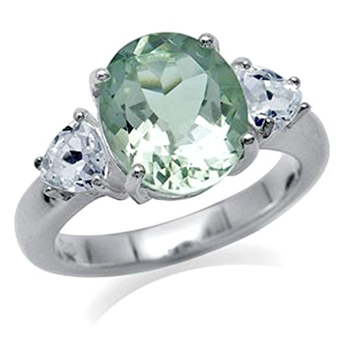 (3.6ct. Natural Oval Shape Green Amethyst & White Topaz 925 Sterling Silver Cocktail Ring Size 8)