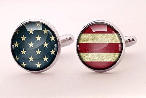 American flag cufflinks, custom flag cufflinks, USA cufflinks, cuff links for events, national symbolic, patriotic gift for (Holloween Usa)