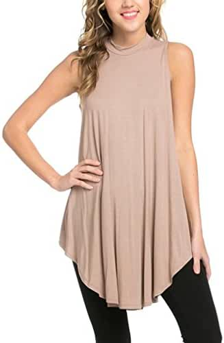 12 Ami Basic Solid Long Flowy Tank T-Shirt Tunic - Made in USA