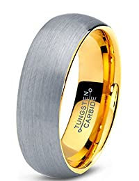 Tungsten Wedding Band Ring 7mm for Men Women Comfort Fit 18K Yellow Gold Plated Domed Brushed Lifetime Guarantee