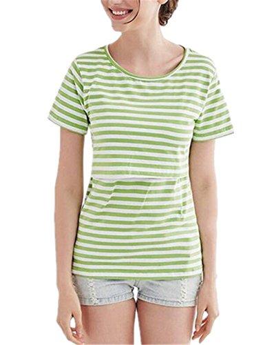 Shirt Allattamento Scollo Ailient Maternity Green Modo Casuale Camicetta Infermieristica T A Righe Rotondo Tunica Donna Elegante Breastfeeding Top Maglietta Blusa Nursing Allentato r0w8Rrq