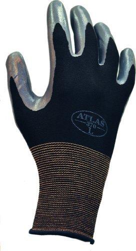 SHOWA Atlas 370B Nitrile Palm Coating Glove, 13-Gauge Seamless Knitted Liner, General Purpose Work, Medium (Pack of 12 Pairs) by SHOWA