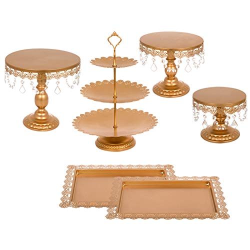 Happybuy 6 PCS Antique Metal Cake Stand Set with Crystal Pendants and Beads 3-Layer Tower Cake Plate Rectangle Cake Pans Round Dessert Holder Cupcake Stands for Party Wedding Birthday (6PCS, Gold) ()