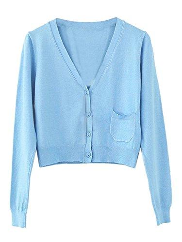 lunghe donna corte maglia a in in Cardigan maniche maglia azzurra Aj maniche a Fashion BvXnAwqE