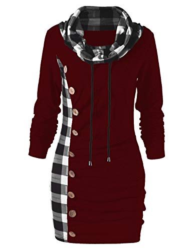 (Women Cowl Neck Plaid Drawstring Button Sheath Ruched Tunic Sweatshirt Dress Red Wine)