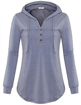 Vivilli Women Hooded Long Sleeve T Shirt V Neck Pleats Lightweight Hoodie Tunic Sweatshirt with Buttons