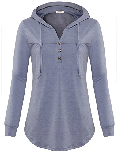 Vivilli Womens Long Sleeve Hoodie Tunic V Neck Pleats Flowy Lightweight Hooded T Shirt