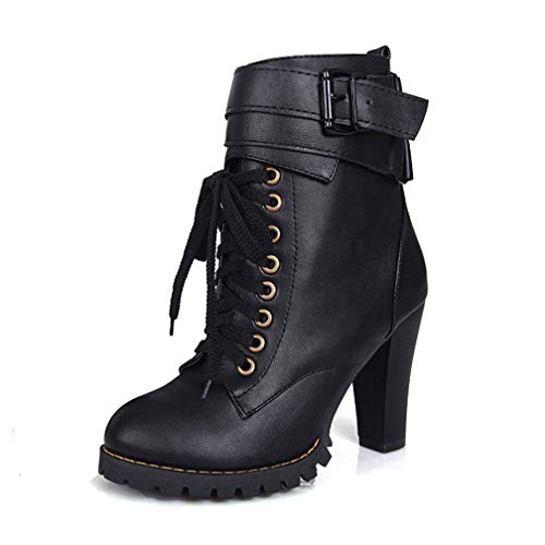 ChyJoey Women's Platform Lace Up Ankle Booties High Heel Round Toe Neutra Buckle Strap Short Boots Black