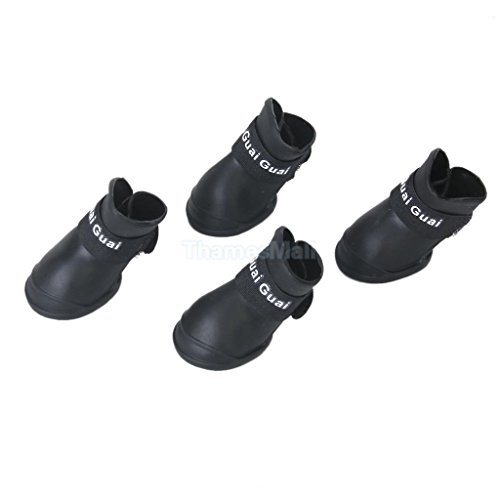 Black Pet Dog Waterproof Skidproof Rain Shoes Boots Paws Cover Protector Size - Online Buy Tortoise India