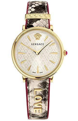 Versace Women's Manifesto Edition Swiss-Quartz Watch with Leather Calfskin Strap, Beige, 11 (Model: ()