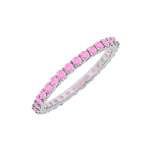 10 CT Pink Sapphire Eternity Bangle in Sterling Silver ()