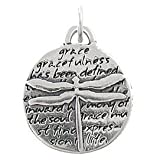 Small Round Dragonfly Pendant with Inspirational Inscriptions in Sterling Silver, #8226