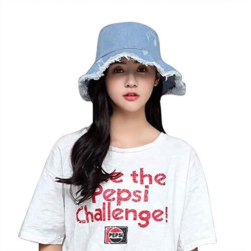 QCHOMEE Women Frayed Raw Hem Denim Basin cap Foldable Fishing Cap ()
