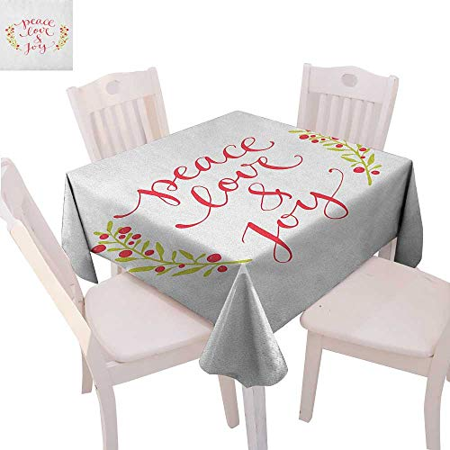 BlountDecor Quote Dinner Picnic Table Cloth Peace Love and Joy Calligraphic Xmas Text with Winter Berries Wreath Waterproof Table Cover for Kitchen 36