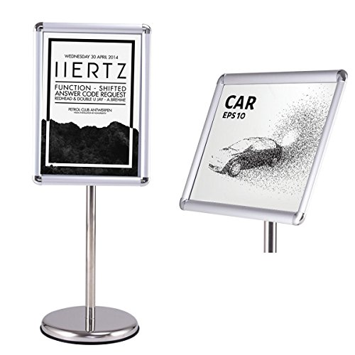 Goplus Adjustable Pedestal Poster Stand Aluminum Snap-in Frame Sign Holder with Telescoping Post, Both Vertical and Horizontal View Sign Displayed (Silver, 13