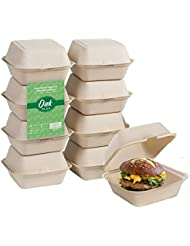 Oak Plus Compostable Clamshell Takeout Containers [6X6 300-Pack], to Go Food Boxes with Lids, Eco-Friendly Meal Prep Storage Containers, Microwave Safe - Sugarcane Fiber