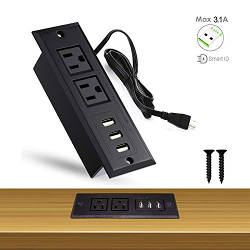 Power Socket Outlet - YaBland Desktop USB Power Strip Recessed Outlets Socket,Max 3A Charging Station, Conference Desk Sofa Table with Power Outlets,2 AC Plugs and 3 USB Ports,6.8ft Cable for Office,Kitchen,Hotel(Black)
