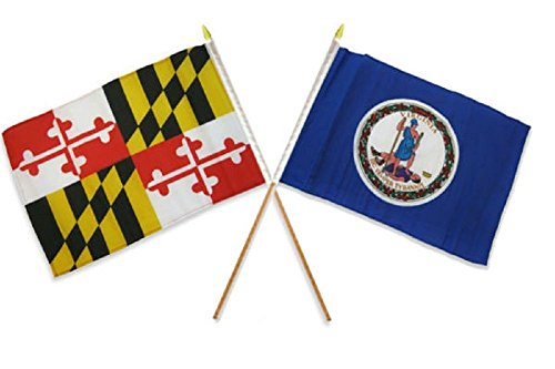ALBATROS 12 inch x 18 inch State Maryland with Virginia Stick Flag for Home and Parades, Official Party, All Weather Indoors -