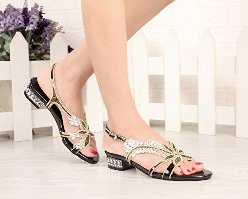 Rhinestones Black Women's Low Design Leaf Honeystore Heel Flower Sandals Party Shoes fOCqwEB