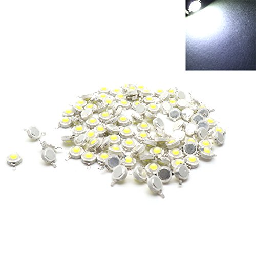 Yootop 100pcs DC 3.0-3.2V 280mA 1W White Light LED Bead Chips Emitting Diodes LED Emitters(White Light)