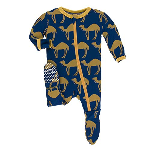 Kickee Pants Little Boys Print Footie with Zipper - Navy Camel, 6-9 Months ()