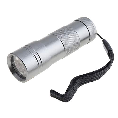 (SecurityIng 395nm Mini UV Black Flashlight, 12 LED Ultraviolet Blacklight LED Torch Aluminum Alloy for Fluorescent Agent Detection, Money, Pet Urine & Stains(3 x AAA Batteries Not Included) -Sliver)