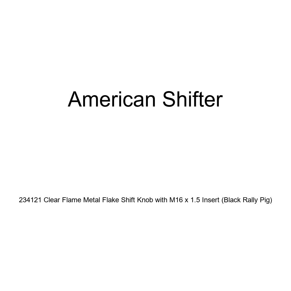 American Shifter 234121 Clear Flame Metal Flake Shift Knob with M16 x 1.5 Insert Black Rally Pig