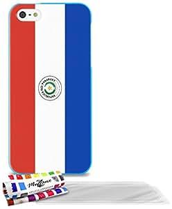 """Carcasa Flexible Ultra-Slim APPLE IPHONE 5S / IPHONE SE de exclusivo motivo [Paraguay Bandera] [Azul] de MUZZANO  + 3 Pelliculas de Pantalla """"UltraClear"""" + ESTILETE y PAÑO MUZZANO REGALADOS - La Protección Antigolpes ULTIMA, ELEGANTE Y DURADERA para su APPLE IPHONE 5S / IPHONE SE"""