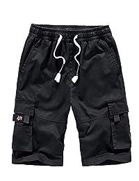 APTRO Men's Cargo Shorts Relaxed Fit Multi-Pockets Elastic Waist Cotton Shorts Outdoor Casual Cargo Shorts