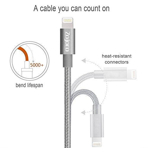 Zojoro Lightning Cable,3Pack 3ft Nylon Braided 8 Pin Lightning Cable USB Charging Cord with Aluminum Connector for iPhone 6/6S/6 Plus/6S Plus 5/5C/5S/SE,iPad Air/Mini,iPod Nano/Touch