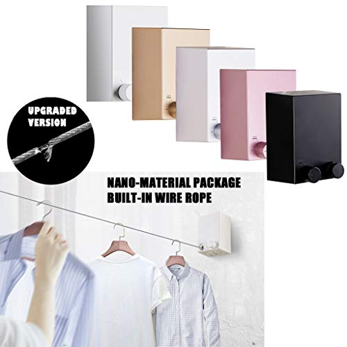 Wall Mounted Hung Stainless Steel Retractable Laundry Line Invisible Clothesline Washing Line,Balcony Drying Indoor Bathroom Shrink Wire Rope Clothes Line Wall Hanging Stretch Line Punch Free (Silver)