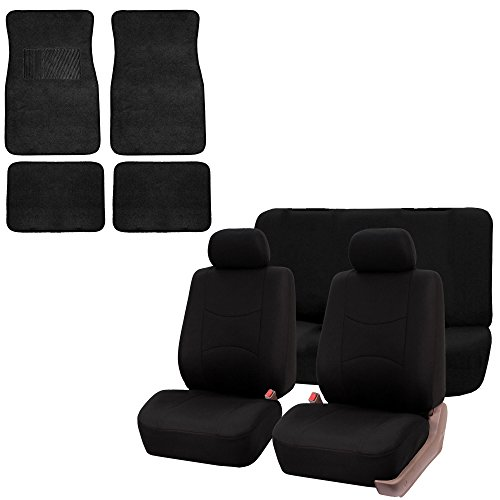 FH GROUP FH-FB050112 + C14403: Black Modern Flat Cloth Seat Covers and Black Carpet Floor Mats- Fit Most Car, Truck, Suv, or Van